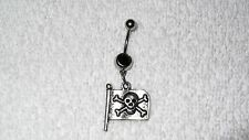 Pirate Flag Skull Bones Design Charm Belly Navel Ring Body Jewelry Piercing