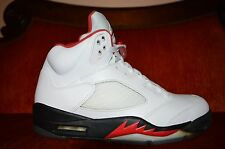 Nike Air Jordan V 5 Retro WHITE FIRE RED BLACK SILVER 136027-100 Size 9 VNDS