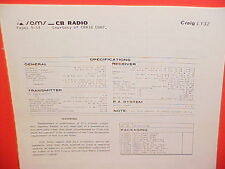 1980 CRAIG CB RADIO SERVICE SHOP MANUAL MODEL L132