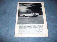 """1961 Pontiac 389 Vintage Engine Ad """"Pontiac Announces the Trophy V-8 Engine"""""""