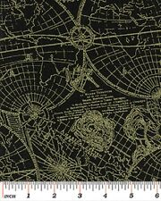 Fat Quarter New World Map Black Gold Cotton Quilting Fabric Benartex 5028M 99