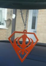 Superman Orange Acrylic Khanda Punjabi Sikh Pendant Car Mirror Hanging Chain