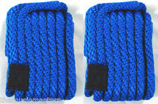 """(2) NEW Blue Solid Braid MFP 3/8"""" x 15' ft Boat Marine DOCK LINES Mooring Ropes"""