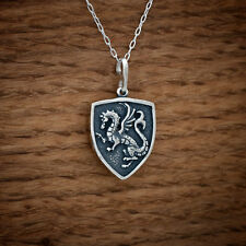 925 Sterling Silver Medieval Dragon Shield Pendant FREE Cable Link Chain