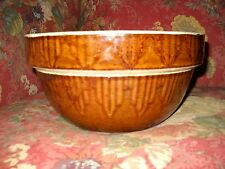 "Antique Yellow ware 10"" Brown Bowl Vintage"