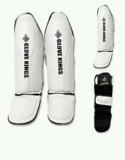 GK cowhide leather Shinguards  Instep Pads MMA Leg  Muay Thai Kick Boxing Twins