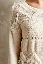 NEW  Anthropologie  Crewneck long sleeved ivory sweater by: Moth  Size L