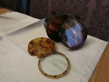 Antique Art Deco Faux Tortoiseshell Swivel Magnifying glass & pen nib box 1930's