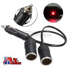 12V Car Twin Double Cigarette Lighter Socket Extension Lead Adaptor Splitter New