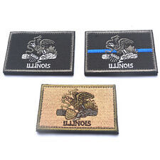3 PCS USA Illinois IL STATE FLAG U.S. ARMY MORALE BADGES TACTICAL PATCHES