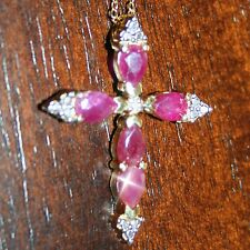 14K Yellow Gold 925 SS Marquise Ruby Tiny Diamond Cross Pendant Necklace in Box