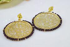 Ottomangems Semi Preziosi Gem Stone placcato oro Orecchini Calligrafia Islamica