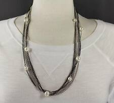 Black Silver Gold 5 strand faux pearl draped long statement bib necklace 24 long