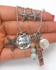 Beach Girl Necklace Jewelry Earrings Set Star Fish Charm Mother Pearl  US SELLER