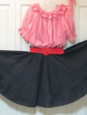 2445 Red Gingham Blouse with Black Skirt, Belt and Tie, M