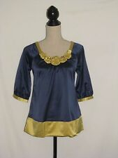 Blue and Yellow Top Blouse with Flowers Size S