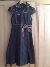 GREAT S'NOB BY SANS NOBLESSE BROWN PATTERN DRESS DUSTY PINK TRIM UK SIZE S WORN