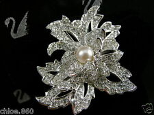 SIGNED SWAROVSKI  CRYSTAL FLOWER  PIN ~ BROOCH RETIRED NEW