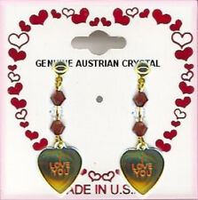 Valentines Day I Love You Heart Dangle Pierced Earrings, 6 Crystal Stones NEW