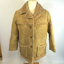 Vintage 70s Womens Sherpa Western Polyester Lumberjack Winter Coat Jacket 22 USA
