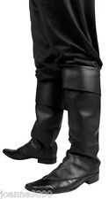 *Mens Black Fancy Dress Costume Boot Top Covers Santa Medieval Peter Pan Pirate*