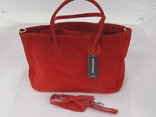 Red Suede Leather Shoulder Bag, Hand Bag.