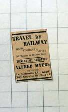 1930 Alfred Myers, Tickets For Theatres, Travel By Railway