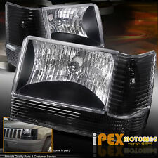 6PC COMBO 1993-1996 Jeep Grand Cherokee ZJ Black Head Light+Corner+Signal Lights