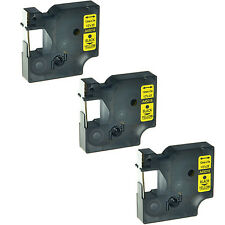 3PK 45018 Black on Yellow Label Tape For Dymo D1 LabelWriter Duo 3M PL200 12mm