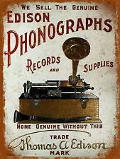 Imagen de estilo vintage retro fonógrafos Cartel Letrero de Metal Placa de Puerta de pared de estaño