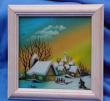 Branimir Bijelic Reverse Oil Painting on Glass Winter Scene Signed Vintage