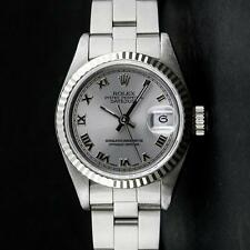 Rolex SS Slate Grey Roman With Square Track Oyster Band DateJust Ladi... Lot 741