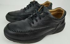 Ecco Men's Size 8.5 W Stallion Black Leather Moc Toe Casual Lace Up Oxfords