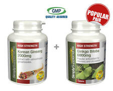 SimplySupplements Korean Ginseng 2000mg 120 Tabs & Ginkgo Biloba 6000mg 120 Tabs