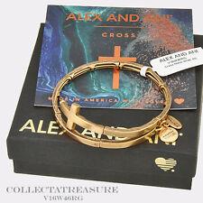 Authentic Alex and Ani Cross Metal Rafaelian Gold Charm Bangle Wrap