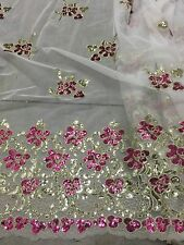 "WHITE MESH GOLD FUCHSIA BORDER EMBROIDERY SEQUINS LACE FABRIC 52"" WIDE 1 YARD"