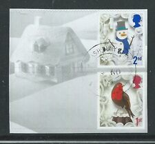 GREAT BRITAIN 2016 CHRISTMAS PAIR WITH ELLIPTICAL PERFORATIONS FINE USED