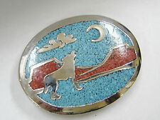 SILVER CHIP INLAY TURQUOISE CORAL HOWLING COYOTE DESERT SCENE BELT BUCKLE N313-F