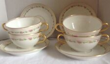 VINTAGE LIMOGES FRANCE  OLD ABBEY DOUBLE HANDLE SOUP BOWLS FINE CHINA