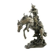 11.5 Inch Indian Warrior w/ Rifle on Horse Statue Native American Indio indian