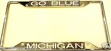 Michigan Wolverines Carbon fiber Look  License Plate Chrome Frame Silver Low Tag