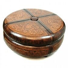 "45"" round ottoman cocktail table amazing carvings hand tooled hard leather"