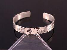 Solid Tibetan Double Deer Dharma Wheel Mantra OM Mani Double Dorje Cuff Bracelet