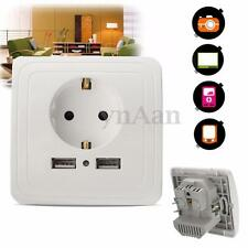 16A AC 250V EU Plug Wall Socket Power Plate Outlet 2A Dual USB Charger Adapter
