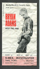 Original 1987 Bryan Adams concert ticket stub Manchester Into The Fire