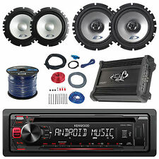 "Alpine 6.5"" Speaker System/Wire, Kenwood USB CD Car Radio, Amplifier/Install Kit"