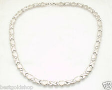 Diamond Cut Hearts & Kisses Stampato Chain Necklace Real 10K White Gold 10.40gr