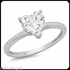 Ruth 1.30CT HEART cut Diamond VVS1 Solid 14K White GOLD Engagement Wedding Ring