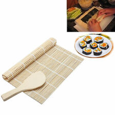 Sushi Rolling Maker Bamboo Roller DIY Mat + Rice Paddle Kitchen Gadgets Tool Set