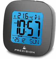 Precision Radio Controlled EL Light LCD Dial Black Alarm Clock AP054 PREC0115
